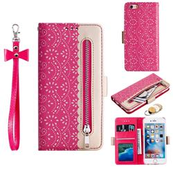 Luxury Lace Zipper Stitching Leather Phone Wallet Case for iPhone 6s 6 6G(4.7 inch) - Rose