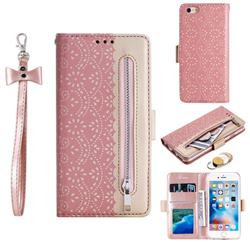 Luxury Lace Zipper Stitching Leather Phone Wallet Case for iPhone 6s 6 6G(4.7 inch) - Pink
