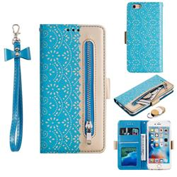 Luxury Lace Zipper Stitching Leather Phone Wallet Case for iPhone 6s 6 6G(4.7 inch) - Blue