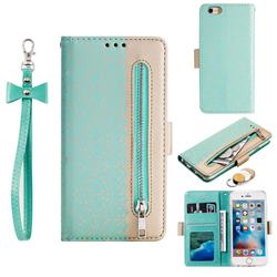 Luxury Lace Zipper Stitching Leather Phone Wallet Case for iPhone 6s 6 6G(4.7 inch) - Green