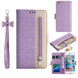 Luxury Lace Zipper Stitching Leather Phone Wallet Case for iPhone 6s 6 6G(4.7 inch) - Purple