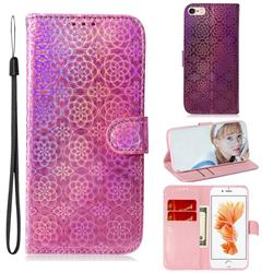Laser Circle Shining Leather Wallet Phone Case for iPhone 6s 6 6G(4.7 inch) - Pink