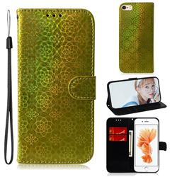 Laser Circle Shining Leather Wallet Phone Case for iPhone 6s 6 6G(4.7 inch) - Golden