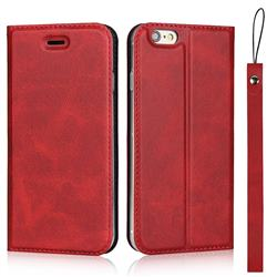 Calf Pattern Magnetic Automatic Suction Leather Wallet Case for iPhone 6s 6 6G(4.7 inch) - Red