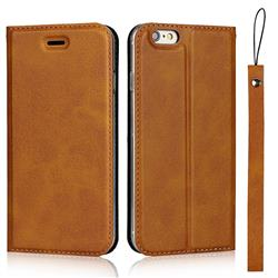 Calf Pattern Magnetic Automatic Suction Leather Wallet Case for iPhone 6s 6 6G(4.7 inch) - Brown