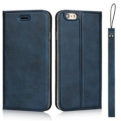 Calf Pattern Magnetic Automatic Suction Leather Wallet Case for iPhone 6s 6 6G(4.7 inch) - Blue