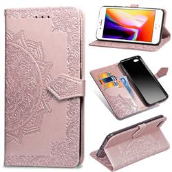 Embossing Imprint Mandala Flower Leather Wallet Case for iPhone 6s 6 6G(4.7 inch) - Rose Gold