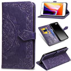 Embossing Imprint Mandala Flower Leather Wallet Case for iPhone 6s 6 6G(4.7 inch) - Purple