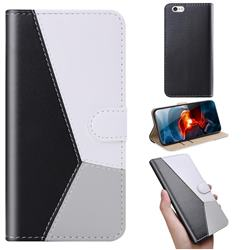 Tricolour Stitching Wallet Flip Cover for iPhone 6s 6 6G(4.7 inch) - Black