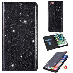 Ultra Slim Glitter Powder Magnetic Automatic Suction Leather Wallet Case for iPhone 6s 6 6G(4.7 inch) - Black