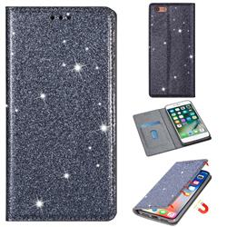 Ultra Slim Glitter Powder Magnetic Automatic Suction Leather Wallet Case for iPhone 6s 6 6G(4.7 inch) - Gray