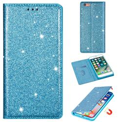 Ultra Slim Glitter Powder Magnetic Automatic Suction Leather Wallet Case for iPhone 6s 6 6G(4.7 inch) - Blue