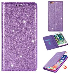 Ultra Slim Glitter Powder Magnetic Automatic Suction Leather Wallet Case for iPhone 6s 6 6G(4.7 inch) - Purple
