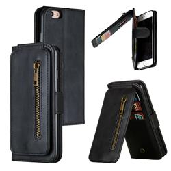 Multifunction 9 Cards Leather Zipper Wallet Phone Case for iPhone 6s 6 6G(4.7 inch) - Black