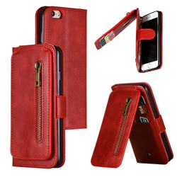 Multifunction 9 Cards Leather Zipper Wallet Phone Case for iPhone 6s 6 6G(4.7 inch) - Red