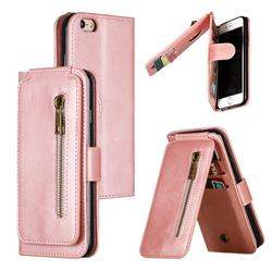 Multifunction 9 Cards Leather Zipper Wallet Phone Case for iPhone 6s 6 6G(4.7 inch) - Rose Gold