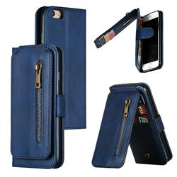 Multifunction 9 Cards Leather Zipper Wallet Phone Case for iPhone 6s 6 6G(4.7 inch) - Blue