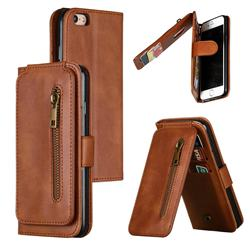 Multifunction 9 Cards Leather Zipper Wallet Phone Case for iPhone 6s 6 6G(4.7 inch) - Brown