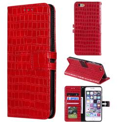 Luxury Crocodile Magnetic Leather Wallet Phone Case for iPhone 6s 6 6G(4.7 inch) - Red