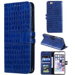 Luxury Crocodile Magnetic Leather Wallet Phone Case for iPhone 6s 6 6G(4.7 inch) - Blue