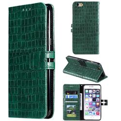 Luxury Crocodile Magnetic Leather Wallet Phone Case for iPhone 6s 6 6G(4.7 inch) - Green