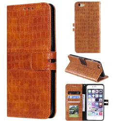 Luxury Crocodile Magnetic Leather Wallet Phone Case for iPhone 6s 6 6G(4.7 inch) - Brown