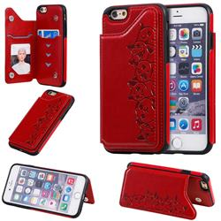 Yikatu Luxury Cute Cats Multifunction Magnetic Card Slots Stand Leather Back Cover for iPhone 6s 6 6G(4.7 inch) - Red