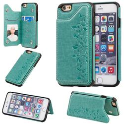 Yikatu Luxury Cute Cats Multifunction Magnetic Card Slots Stand Leather Back Cover for iPhone 6s 6 6G(4.7 inch) - Green