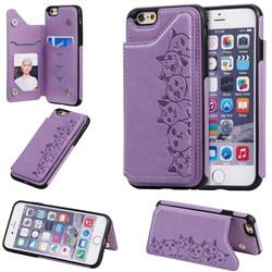 Yikatu Luxury Cute Cats Multifunction Magnetic Card Slots Stand Leather Back Cover for iPhone 6s 6 6G(4.7 inch) - Purple