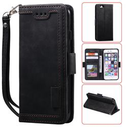 Luxury Retro Stitching Leather Wallet Phone Case for iPhone 6s 6 6G(4.7 inch) - Black