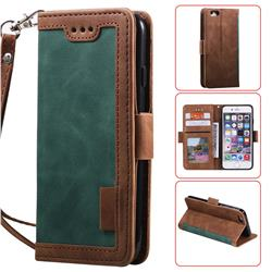 Luxury Retro Stitching Leather Wallet Phone Case for iPhone 6s 6 6G(4.7 inch) - Dark Green