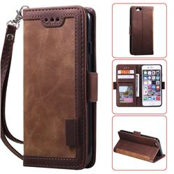 Luxury Retro Stitching Leather Wallet Phone Case for iPhone 6s 6 6G(4.7 inch) - Dark Brown