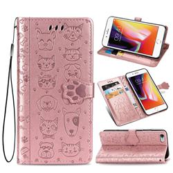 Embossing Dog Paw Kitten and Puppy Leather Wallet Case for iPhone 6s 6 6G(4.7 inch) - Rose Gold