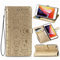 Embossing Dog Paw Kitten and Puppy Leather Wallet Case for iPhone 6s 6 6G(4.7 inch) - Champagne Gold