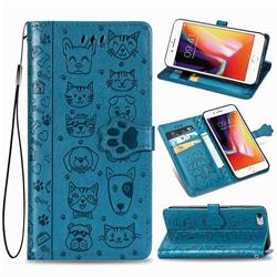 Embossing Dog Paw Kitten and Puppy Leather Wallet Case for iPhone 6s 6 6G(4.7 inch) - Blue