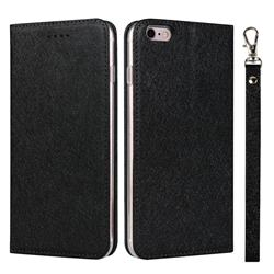 Ultra Slim Magnetic Automatic Suction Silk Lanyard Leather Flip Cover for iPhone 6s 6 6G(4.7 inch) - Black