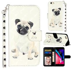 Pug Dog 3D Leather Phone Holster Wallet Case for iPhone 6s 6 6G(4.7 inch)