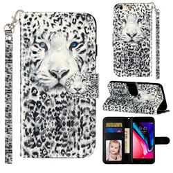 White Leopard 3D Leather Phone Holster Wallet Case for iPhone 6s 6 6G(4.7 inch)