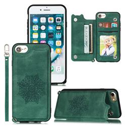 Luxury Mandala Multi-function Magnetic Card Slots Stand Leather Back Cover for iPhone 6s 6 6G(4.7 inch) - Green
