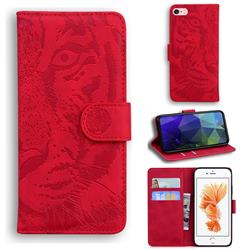 Intricate Embossing Tiger Face Leather Wallet Case for iPhone 6s 6 6G(4.7 inch) - Red