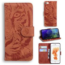 Intricate Embossing Tiger Face Leather Wallet Case for iPhone 6s 6 6G(4.7 inch) - Brown
