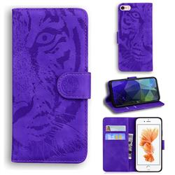 Intricate Embossing Tiger Face Leather Wallet Case for iPhone 6s 6 6G(4.7 inch) - Purple