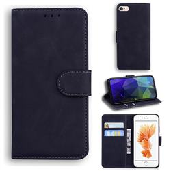 Retro Classic Skin Feel Leather Wallet Phone Case for iPhone 6s 6 6G(4.7 inch) - Black