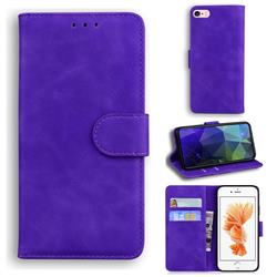 Retro Classic Skin Feel Leather Wallet Phone Case for iPhone 6s 6 6G(4.7 inch) - Purple