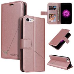 GQ.UTROBE Right Angle Silver Pendant Leather Wallet Phone Case for iPhone 6s 6 6G(4.7 inch) - Rose Gold