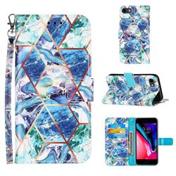 Green and Blue Stitching Color Marble Leather Wallet Case for iPhone 6s 6 6G(4.7 inch)