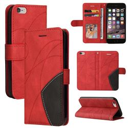 Luxury Two-color Stitching Leather Wallet Case Cover for iPhone 6s 6 6G(4.7 inch) - Red
