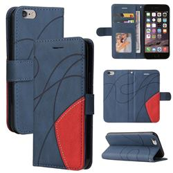 Luxury Two-color Stitching Leather Wallet Case Cover for iPhone 6s 6 6G(4.7 inch) - Blue
