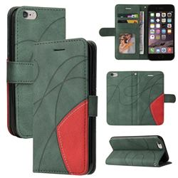 Luxury Two-color Stitching Leather Wallet Case Cover for iPhone 6s 6 6G(4.7 inch) - Green