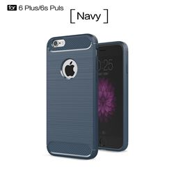 Luxury Carbon Fiber Brushed Wire Drawing Silicone TPU Back Cover for iPhone 6s Plus / 6 Plus 6P(5.5 inch) (Navy)